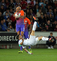 Borja Gonzalez of Swansea City fails to score with a bicycle kick during the EFL Cup Third Round match between Swansea City and Manchester City at The Liberty Stadium in Swansea, Wales, UK. Wednesday 21 September.