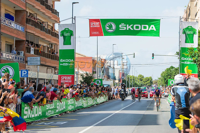 The breakaway at the intermediate sprint during Stage 6 of La Vuelta d'Espana 2021, running 158.3km from Requena to Alto de la Montaña Cullera, Spain. 19th August 2021.    <br /> Picture: Cxcling | Cyclefile<br /> <br /> All photos usage must carry mandatory copyright credit (© Cyclefile | Cxcling)