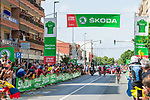 The breakaway at the intermediate sprint during Stage 6 of La Vuelta d'Espana 2021, running 158.3km from Requena to Alto de la Montaña Cullera, Spain. 19th August 2021.    <br /> Picture: Cxcling   Cyclefile<br /> <br /> All photos usage must carry mandatory copyright credit (© Cyclefile   Cxcling)