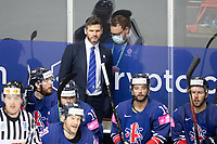 23rd May 2021, Riga Olympic Sports Centre Latvia; 2021 IIHF Ice hockey, Eishockey World Championship, Great Britain versus Slovakia;  assistant coach Adam Keefe Great Britain watches play