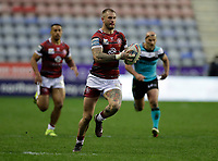 29th April 2021; DW Stadium, Wigan, Lancashire, England; BetFred Super League Rugby, Wigan Warriors versus Hull FC;  Zak Hardaker of Wigan Warriors breaks with the ball