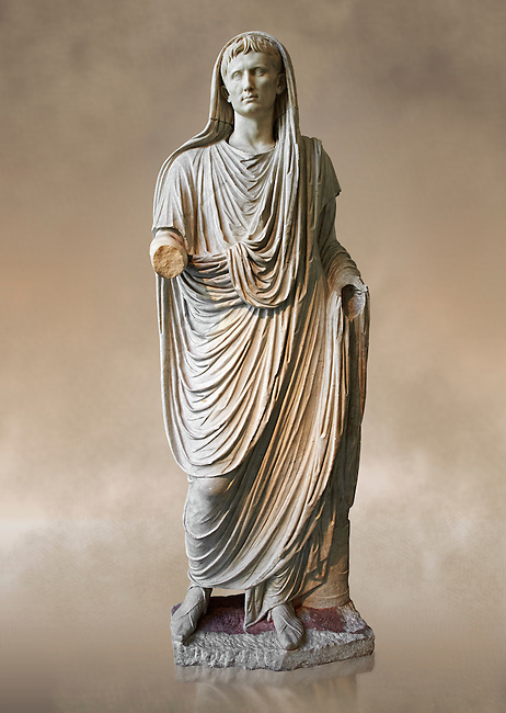 Roman statue of Augustus as Pontifex Maximus, circa 17-14 BC.  This statue of Augustus was typical of the approved style that Augustus used to control his public image. As Pontifex Maximus the statue emphasises the piety of the ruler and his reverence for the gods and traditions of Rome. Augustus thus revitalised the role and function of the most ancient Roman priesthoods and exalted the myths that narrated the origins of Rome. The statue is part of the political propaganda that Augustus used to cement his position of first amongst equals to the very conservative Romans.  National Roman Museum, Rome.