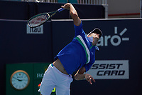 4th April 2021; Miami Gardens, Miami, Florida, USA;  Hubert Hurkacz (POL) serves during the mens finals match of the Miami Open on April 4, 2021, at Hard Rock Stadium in Miami Gardens, Florida