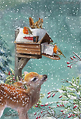 Marcello, CHRISTMAS SYMBOLS, WEIHNACHTEN SYMBOLE, NAVIDAD SÍMBOLOS,deer,birdhouse, paintings+++++,ITMCXM1990/AA,#xx#