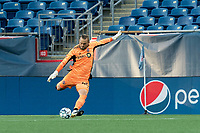 FOXBOROUGH, MA - JULY 9: Caleb Patterson-Sewell #40 of Toronto FC II passes the ball during a game between Toronto FC II and New England Revolution II at Gillette Stadium on July 9, 2021 in Foxborough, Massachusetts.