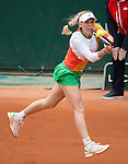 Caroline Wozniacki (DEN) loses to Yanina Wickmayer (BEL) 7-6, 4-6, 6-2 at  Roland Garros being played at Stade Roland Garros in Paris, France on May 27, 2014