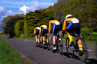 Takapuna senior A u20 boys in action during the NZ Schools Road Cycling championship day one team time trials at Koputaroa Road near Levin, New Zealand on Saturday, 30 September 2017. Photo: Dave Lintott / lintottphoto.co.nz