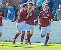 Linlithgows' Tommy Coyne (centre) celebrates after he scores their first goal.