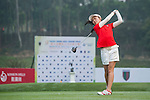 Yik Ching Ktty Tarn of Hong Kong tees off at tee one during the 9th Faldo Series Asia Grand Final 2014 golf tournament on March 18, 2015 at Mission Hills Golf Club in Shenzhen, China. Photo by Xaume Olleros / Power Sport Images