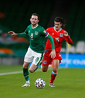 27th March 2021; Aviva Stadium, Dublin, Leinster, Ireland; 2022 World Cup Qualifier, Ireland versus Luxembourg; Alan Browne (Republic of Ireland) gets away from Olivier Thill (Luxembourg)