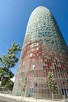 Torre Agbar an der Av. Diagonal, Barcelona, Spanien
