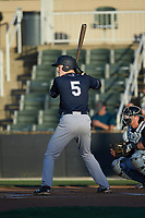 Eric Wagaman (5) of the Charleston RiverDogs at bat against the Kannapolis Intimidators at Kannapolis Intimidators Stadium on May 2, 2019 in Kannapolis, North Carolina. The RiverDogs defeated the Intimidators 4-0. (Brian Westerholt/Four Seam Images)