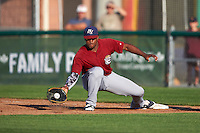 Mahoning Valley Scrappers first baseman Emmanuel Tapia (28) stretches for a throw during a game against the Auburn Doubledays on July 17, 2016 at Falcon Park in Auburn, New York.  Mahoning Valley defeated Auburn 3-2.  (Mike Janes/Four Seam Images)