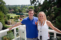 23-06-10, Tennis, England, Wimbledon, Caroline Wozniacki photoshoot, Caroline and her brother Patrik on the terrace of their house in Wimbledon overlooking the practise courts