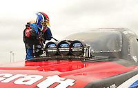 May 1, 2011; Baytown, TX, USA: NHRA funny car driver Bob Tasca III during the Spring Nationals at Royal Purple Raceway. Mandatory Credit: Mark J. Rebilas-