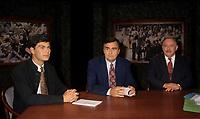 Montreal (Qc) CANADA,September 16,1995 File Photo <br /> <br /> Mario Dumont, Action Democratique du Quebec,<br /> Lucien Bouchard,<br />  Jacques Parizeau <br /> at TVA<br /> <br /> Photo by Pierre Roussel / Images Distribution