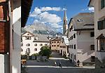 Schweiz, Graubuenden, Unterengadin, Bergdorf Sent: Ortszentrum | Switzerland, Graubuenden, Lower Engadin, mountain village Sent: centre