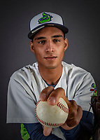 11 June 2019: Vermont Lake Monsters pitcher Yorlenis Noa poses for a portrait on Photo Day at Centennial Field in Burlington, Vermont. The Lake Monsters are the Single-A minor league affiliate of the Oakland Athletics and play a short season in the NY Penn League Stedler Division. Mandatory Credit: Ed Wolfstein Photo *** RAW (NEF) Image File Available ***