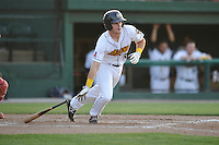 Burlington Bees Jared Walsh (21) heads to first base during the Midwest League game against the Peoria Chiefs at Community Field on June 9, 2016 in Burlington, Iowa.  Peoria won 6-4.  (Dennis Hubbard/Four Seam Images)