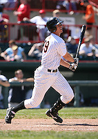 2007:  Brent Dlugach of the Erie Seawolves follows through during an at bat vs. the Bowie Baysox in Eastern League baseball action.  Photo by Mike Janes/Four Seam Images