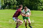 Ballydonoghue v Piarsaigh na Dromoda: Ballydonoghue's Jack Kennelly wins the ball ahead of Piarsaigh na Dromada's Shane O Conchubhair in their Intermediate Group 1 Round 2 clash at Coolard on Sunday last.