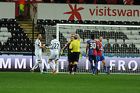 Swansea city's  Chico Flores (l) is sent off by referee Mike Dean.  Barclays Premier league, Swansea city v Crystal Palace match at the Liberty Stadium in Swansea, South Wales on Sunday 2nd March 2014.
