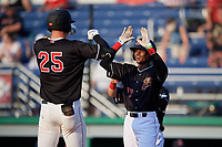 Batavia Muckdogs Dalvy Rosario (17) congratulates Sean Reynolds (25) after hitting a home run during a NY-Penn League game against the Lowell Spinners on July 10, 2019 at Dwyer Stadium in Batavia, New York.  Batavia defeated Lowell 8-6.  (Mike Janes/Four Seam Images)