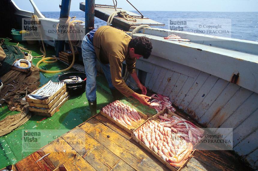 - train fishing to the wide of the sicilian southern coast..- pesca a strascico al largo della costa meridionale siciliana