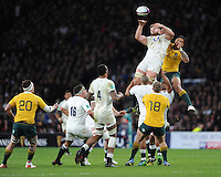 George Kruis of England battles in the lineout during the Old Mutual Wealth Series match between England and Australia at Twickenham Stadium on Saturday 3rd December 2016 (Photo by Rob Munro)