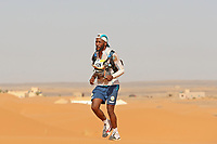 4th October 2021; Tisserdimine to Kourci Dial Zaid;  Marathon des Sables, stage 2 of  a six-day, 251 km ultramarathon, which is approximately the distance of six regular marathons. The longest single stage is 91 km long. This multiday race is held every year in southern Morocco, in the Sahara Desert. Abdelhadi Elmoustahli (MOR) in the dunes