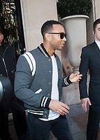 October 4 2017, PARIS FRANCE Singer John Legend leaves the Georges V Hotel on Avenue Georges V.