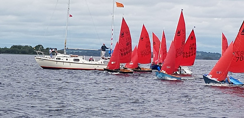 The start of a Lough Ree Yacht Club Mirror dinghy race