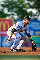 D.J. Peterson (33) of the Jackson Generals fields during a game between the Jackson Generals and Chattanooga Lookouts at AT&T Field on May 7, 2015 in Chattanooga, Tennessee. (Brace Hemmelgarn/Four Seam Images)
