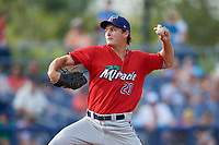 Fort Myers Miracle starting pitcher Tyler Watson (20) during a Florida State League game against the Charlotte Stone Crabs on April 6, 2019 at Charlotte Sports Park in Port Charlotte, Florida.  Fort Myers defeated Charlotte 7-4.  (Mike Janes/Four Seam Images)