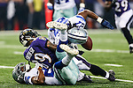 Baltimore Ravens wide receiver Steve Smith (89) and Dallas Cowboys strong safety J.J. Wilcox (27) in action during the pre-season game between the Baltimore Ravens and the Dallas Cowboys at the AT & T stadium in Arlington, Texas. The Ravens lead Dallas 24 to 10 at half time.