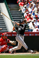 Ryan Sweeney of the Chicago White Sox during a 2007 MLB season game against the Los Angeles Angels at Angel Stadium in Anaheim, California. (Larry Goren/Four Seam Images)
