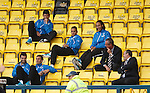 Emilson Cribari, Arnold Peralta, Bilel Mohsni, Richard Foster and Cammy Bell all enjoying the match from behind the dugouts