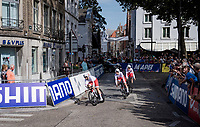 The Womens Team Poland just rolling off the start ramp to start teh 2nd part of this Mixed Relay<br /> <br /> Mixed Relay TTT <br /> Team Time Trial from Knokke-Heist to Bruges (44.5km)<br /> <br /> UCI Road World Championships - Flanders Belgium 2021<br /> <br /> ©kramon