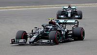 11th October 2020, Nuerburgring, Nuerburg, Germany; FIA Formula 1 Eifel Grand Prix, Race Day;  77 Valtteri Bottas FIN, Mercedes-AMG Petronas Formula One Team ahead of team mate Lewis Hamilton