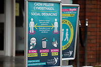 Pictured: Social distancing sign on display in Llanelli Town Centre, Llanelli, Wales, UK. Sunday 27 September 2020<br /> Re: Local lockdown will be in force from 6pm on the 27th of September, due to the Covid-19 Coronavirus pandemic, in Llanelli, Wales, UK