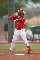 AZL Reds Elvis Gomez (29) at bat during an Arizona League game against the AZL Athletics Green on July 21, 2019 at the Cincinnati Reds Spring Training Complex in Goodyear, Arizona. The AZL Reds defeated the AZL Athletics Green 8-6. (Zachary Lucy/Four Seam Images)