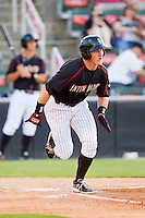 Josh Richmond (13) of the Kannapolis Intimidators hustles down the first base line against the Savannah Sand Gnats at CMC-Northeast Stadium on May 30, 2013 in Kannapolis, North Carolina. The Intimidators defeated the San Gnats 5-4 in 11 innings..   (Brian Westerholt/Four Seam Images)