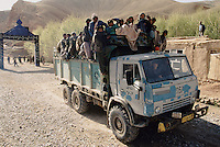 A Russian truck use as a public transport arriving in Yakawlang Bazaar from Bamiyan. Hazarajat, Afghanistan.