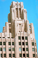 """Los Angeles: Title Guarantee Building, Tower. 1929-31. John & Donald Parkinson. NW corner, S. Hill & W. 5th. (""""A suggestion of Gothic."""") Photo '84."""