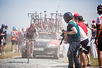Tejay Van Garderen (USA/BMC) showing proof of an earlier crash. <br /> <br /> Stage 9: Arras Citadelle > Roubaix (154km)<br /> <br /> 105th Tour de France 2018<br /> ©kramon