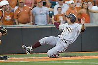 Arizona State Sun Devil shortstop Deven Marrero #17 slides home against the Texas Longhorns in NCAA Tournament Super Regional baseball on June 10, 2011 at Disch Falk Field in Austin, Texas. (Photo by Andrew Woolley / Four Seam Images)