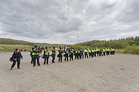Pictured: A police line on site.  Monday 31 August 2020<br /> Re: Around 70 South Wales Police officers executed a dispersal order at the site of an illegal rave party, where they confiscated sound gear used by the organisers in woods near the village of Banwen, in south Wales, UK.