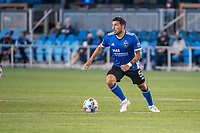 SAN JOSE, CA - MAY 01: Eric Remedi #5 of the San Jose Earthquakes looks up to pass the ball during a game between San Jose Earthquakes and D.C. United at PayPal Park on May 01, 2021 in San Jose, California.