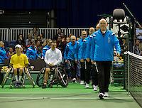 Rotterdam, The Netherlands. 15.02.2014. Stephane Houdet(FRA) and Shingo Kunieda(JPN) at the ABN AMRO World Wheelchair tennis Tournament<br /> Photo:Tennisimages/Henk Koster