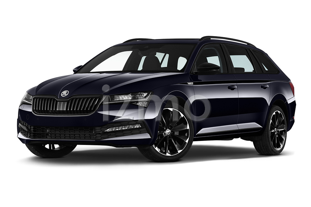 Stock pictures of low aggressive front three quarter view of 2020 Skoda Superb-Combi Sportline 5 Door Wagon Low Aggressive